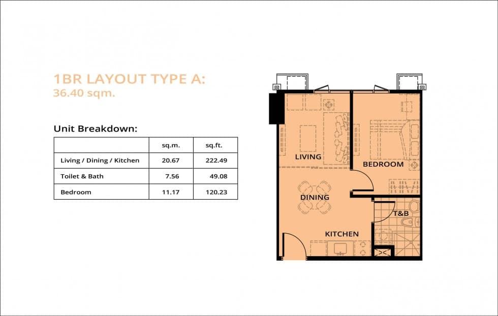 Avida Towers Turf 1BR Unit Floor Plan
