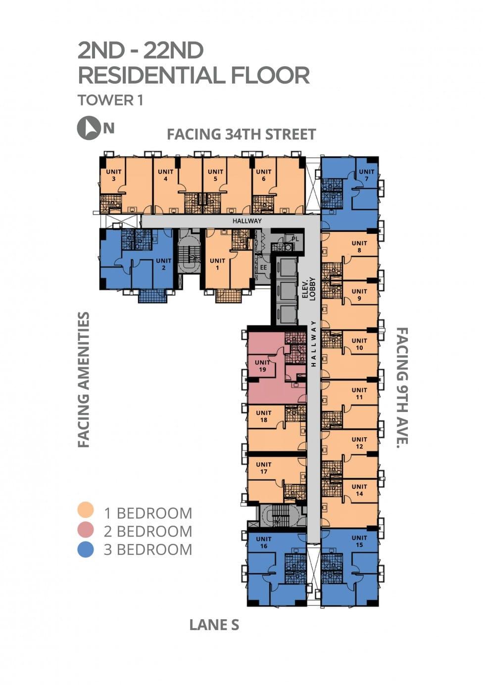 Avida Towers Turf Typical Floor Plan