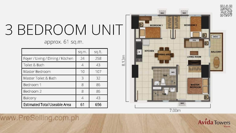 Avida Towers Vireo Three Bedroom Unit