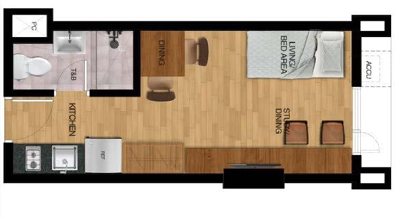 Typical Studio Unit - 1 Bunk Bed Layout