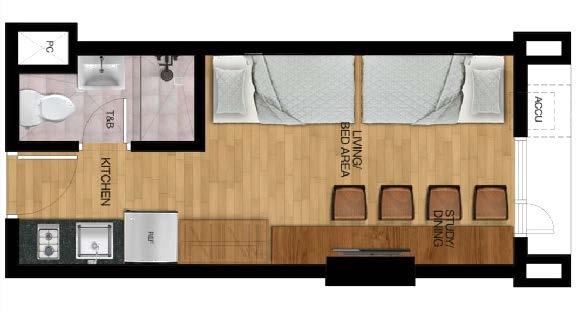 Typical Studio Unit - 2 Bunk Bed Layout