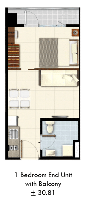 One Bedroom end unit with balcony